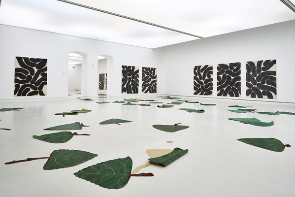 Installation view: Latifa Echakhch: Populus Nigra and paintings, 2019, Courtesy of kamel mennour, kaufmann repetto, Dvir